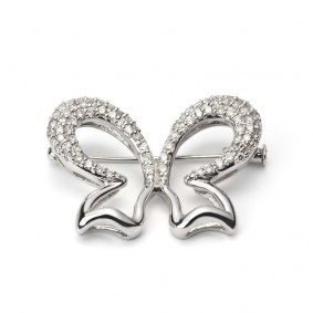 18WG Diamond Butterfly Brooch 1.00TDW